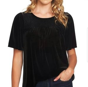 CeCe New Black Smocked Velvet Flutter Sleeve Top M